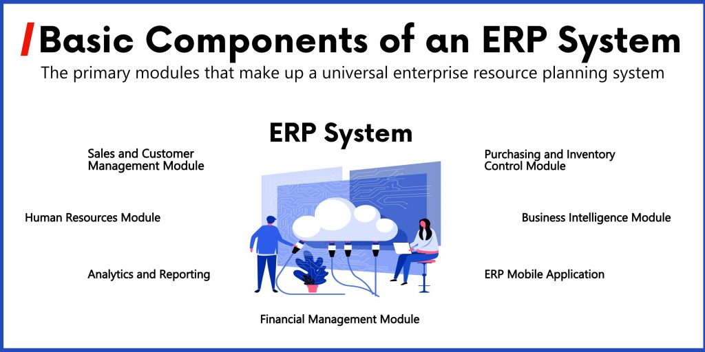 Diagram of basic ERP system components