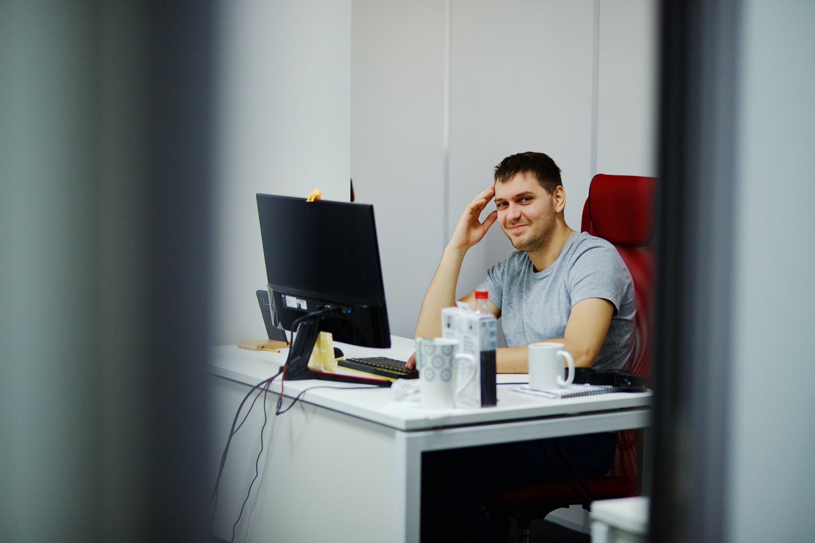 Guy and office routine