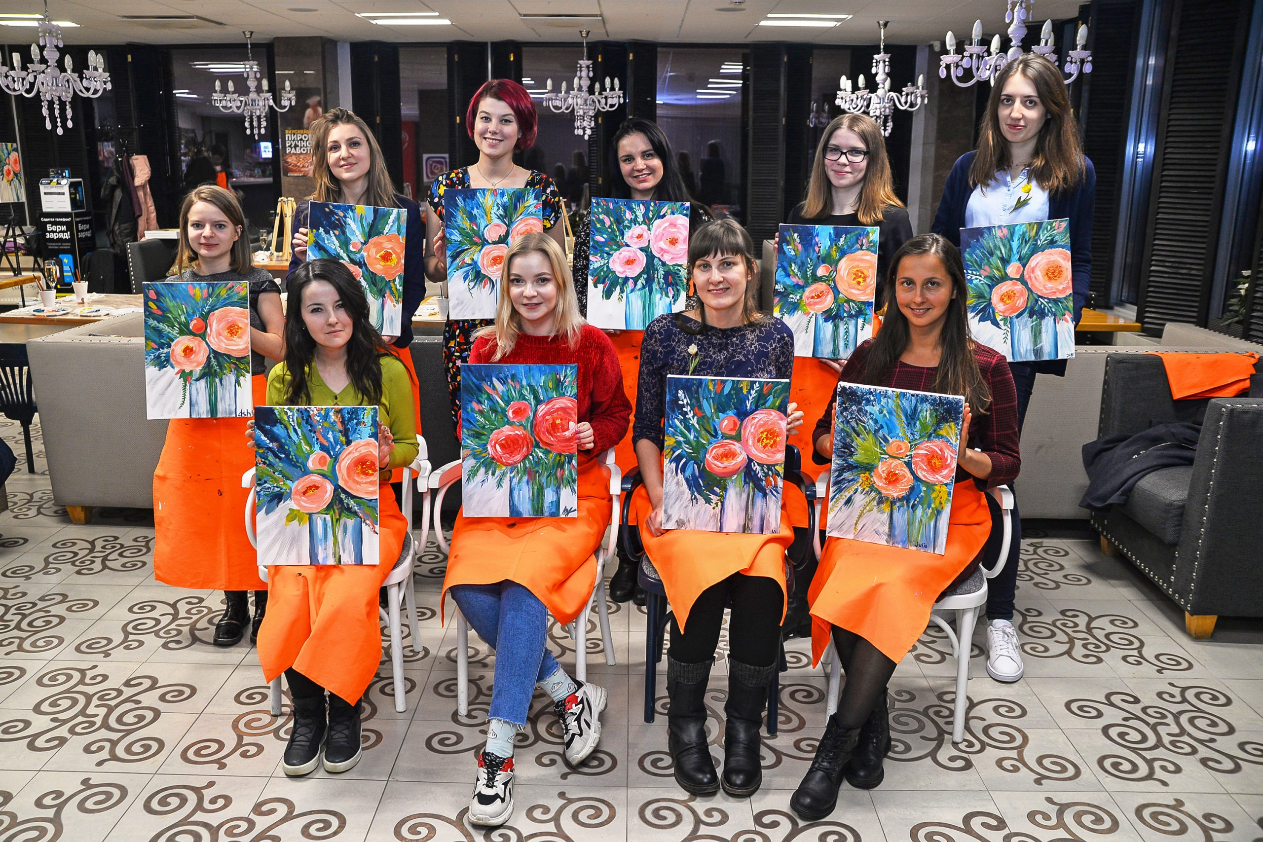 Girls painted pictures on the 8 March holiday
