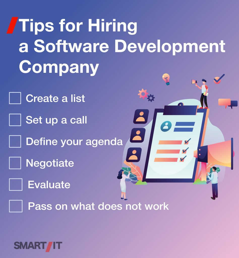 Checklist of tips for hiring a software development company